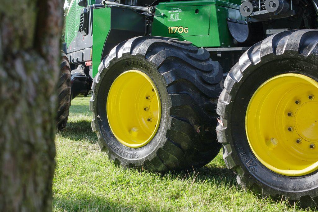 John Deere Tractor heavy equipment wheels close