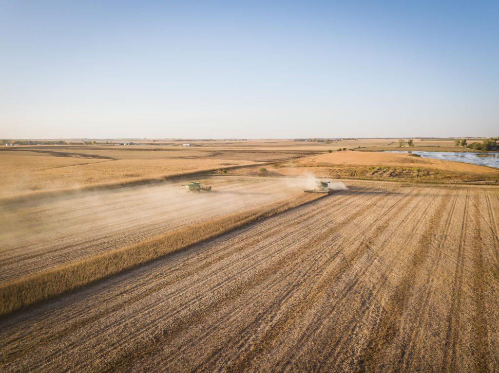 John Deere Tractor fields aerial