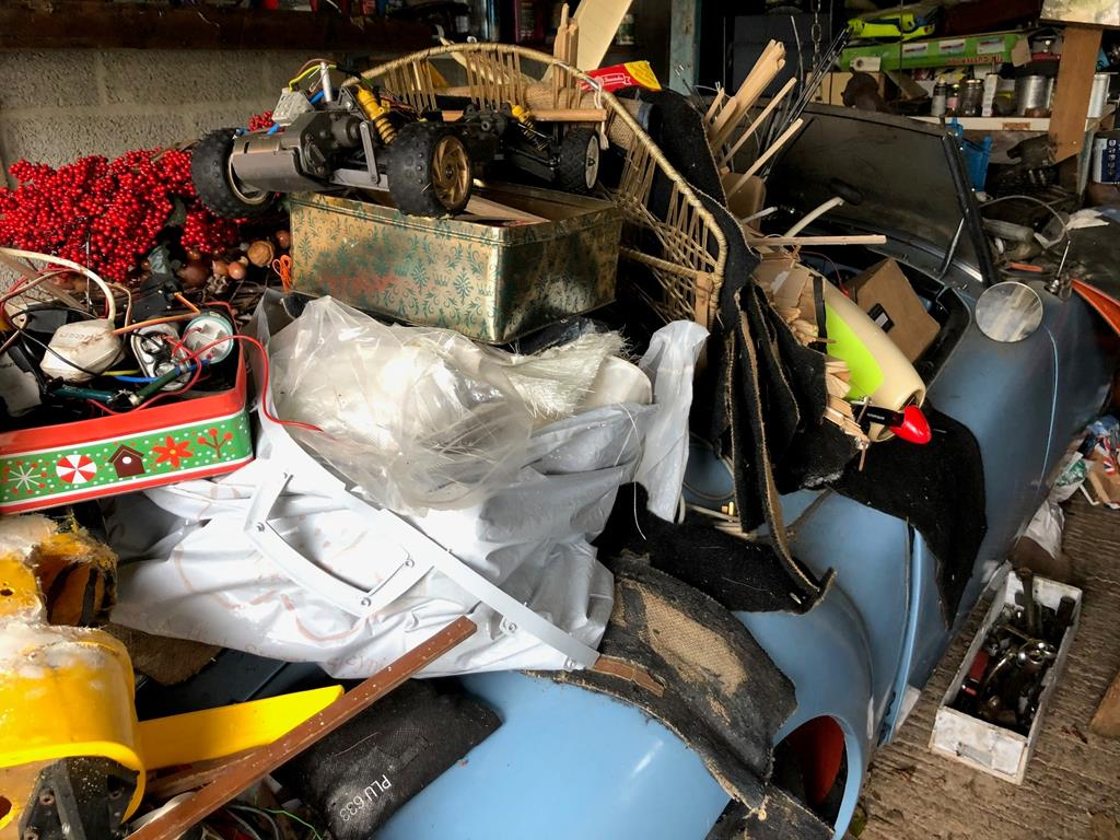 1960 MGA roadster rescue buried in junk