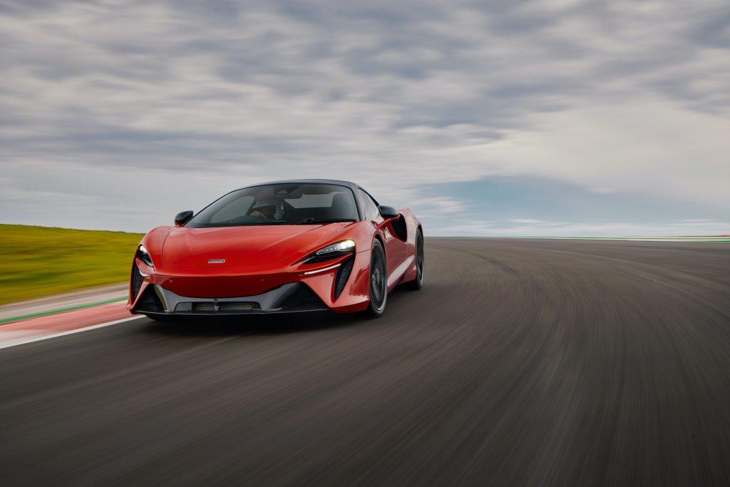 McLaren Artura orange front dynamic track action