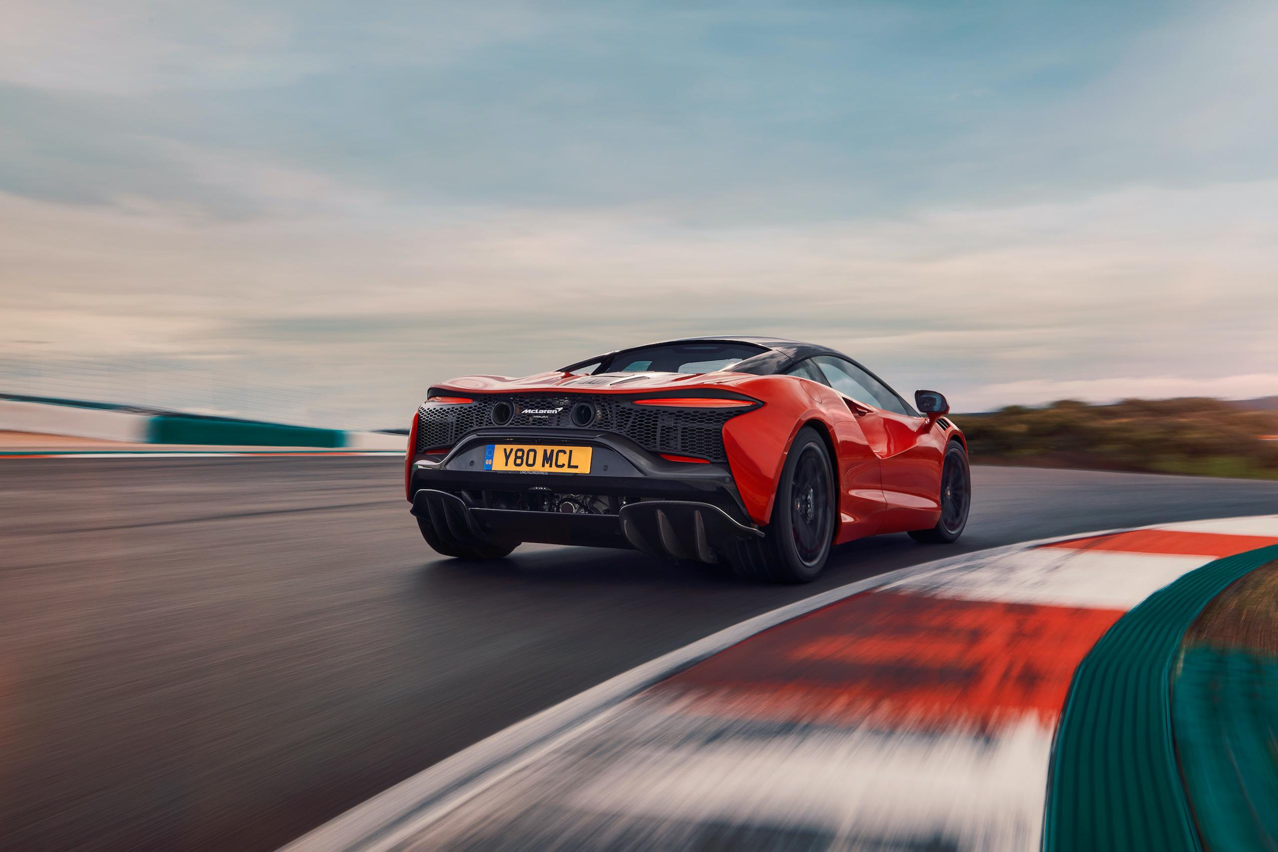 McLaren Artura orange rear track action