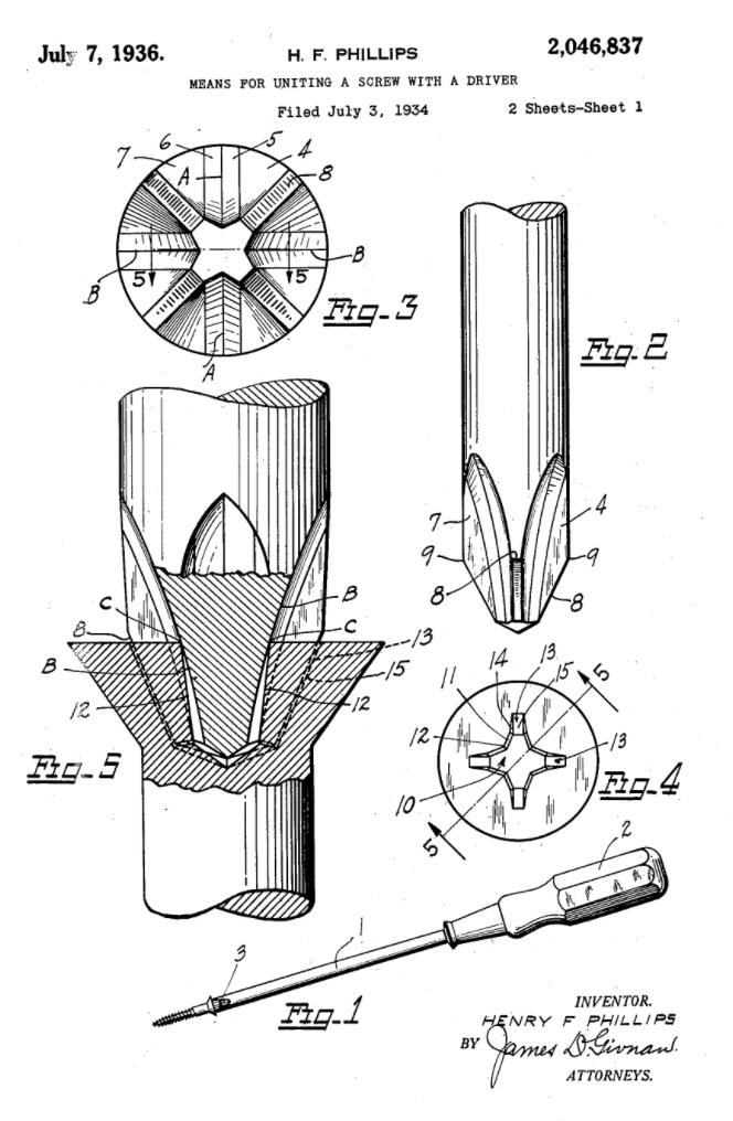 Phillips screw patent