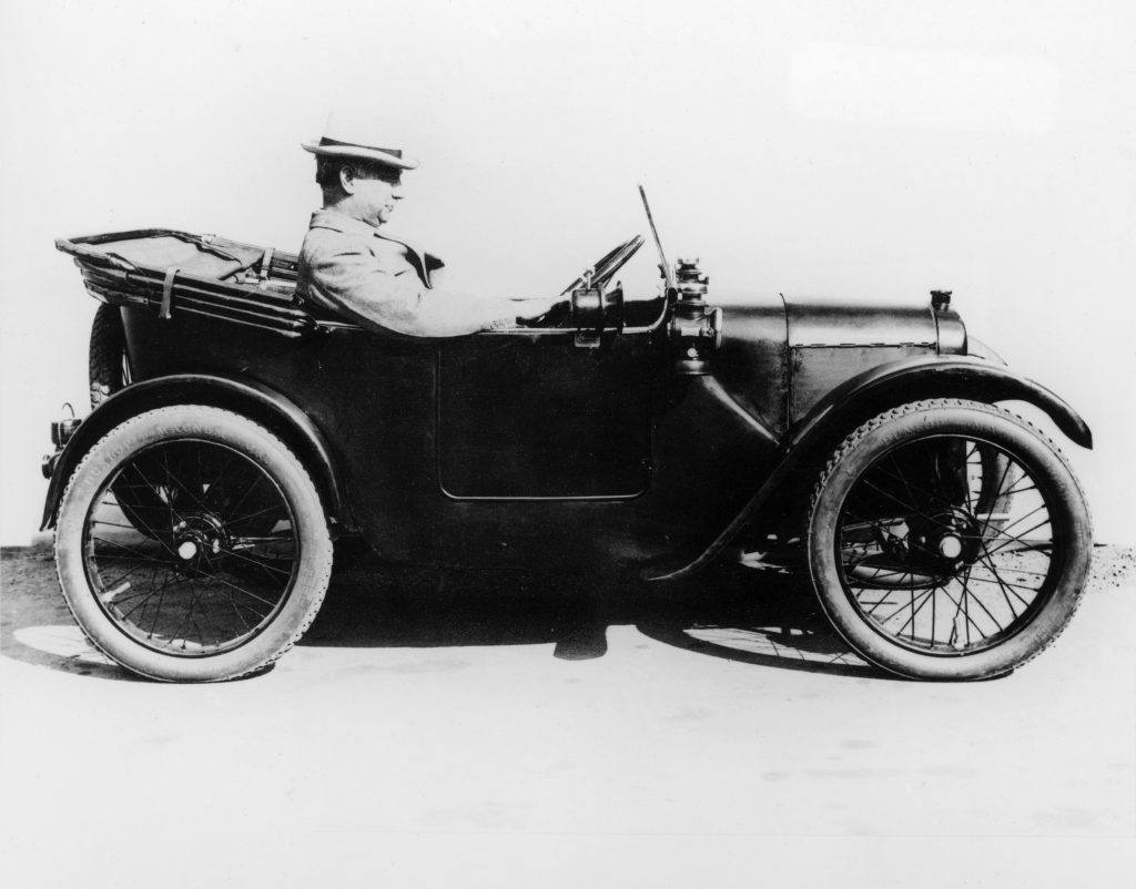 Sir Herbert Austin in an Austin Seven