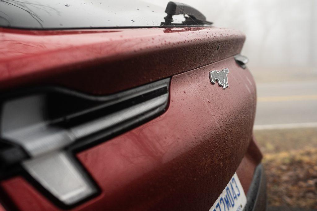 Ford Mustang Mach E rear badge close