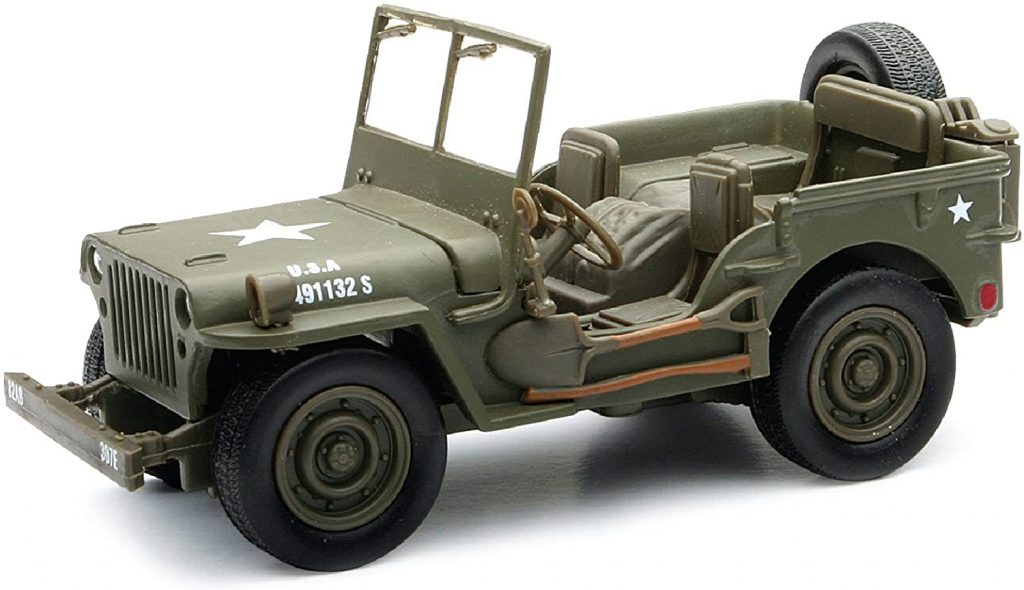Willys MB Jeep WWII scale model front three-quarter