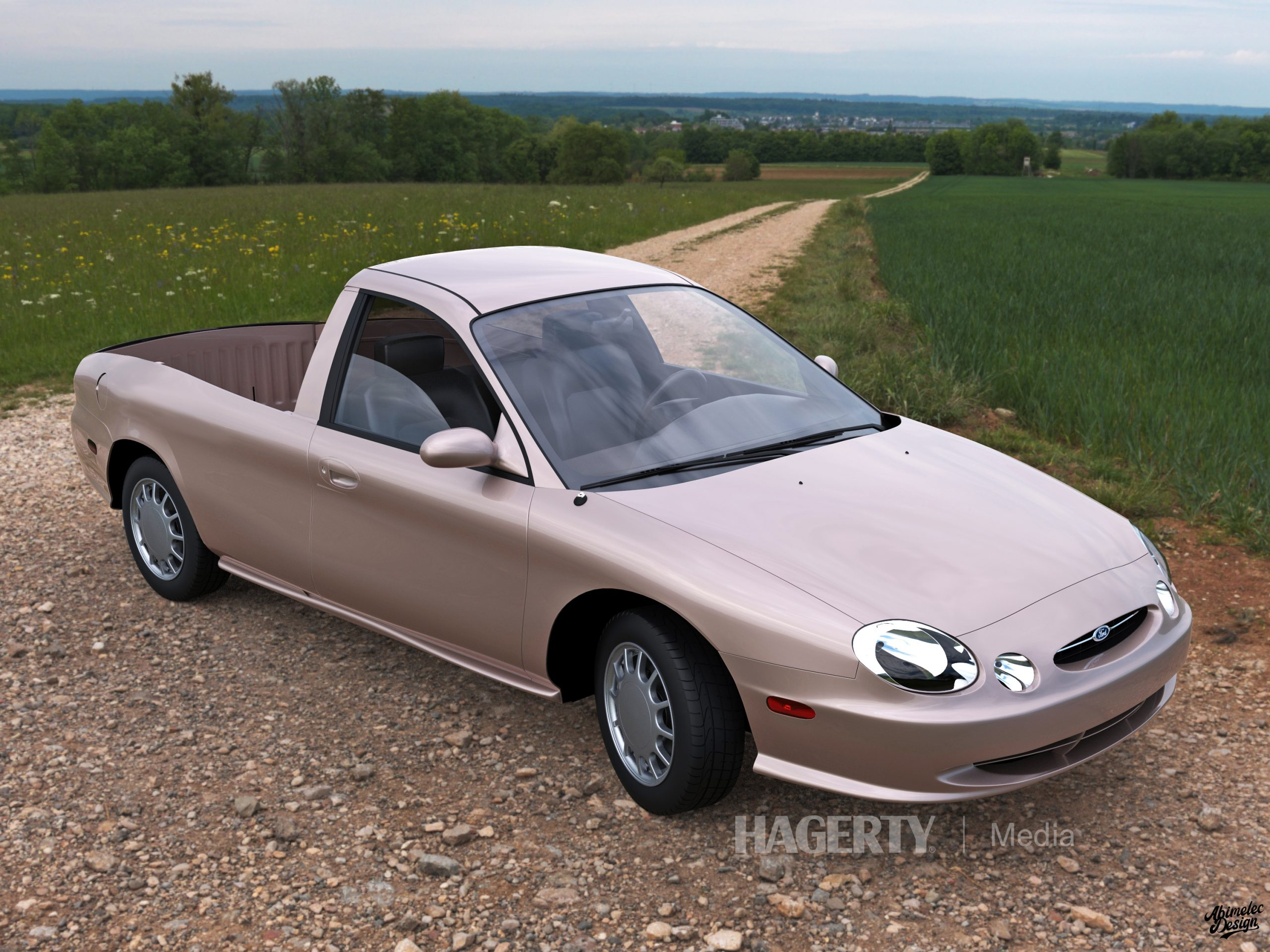 Ford Taurus Ranchero Render front three-quarter tan