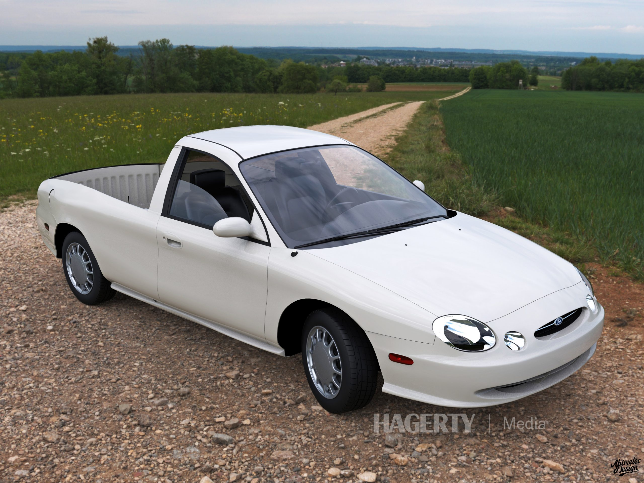 Ford Taurus Ranchero Render front three-quarter white