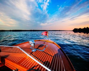Wooden classic boat bow at Hessel