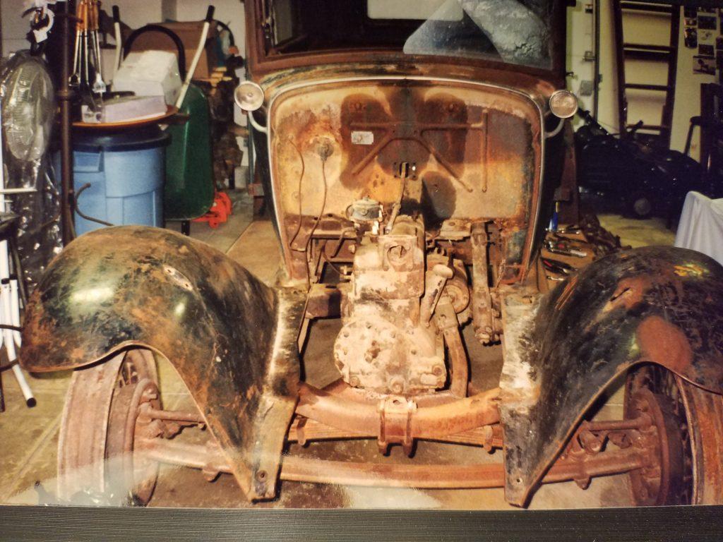 1931 Ford Tudor Model A hot rod rust frame before