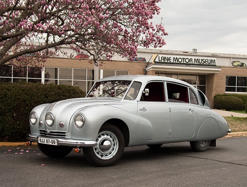 Silver Tatra T87 in front of the Lane Automotive Museum