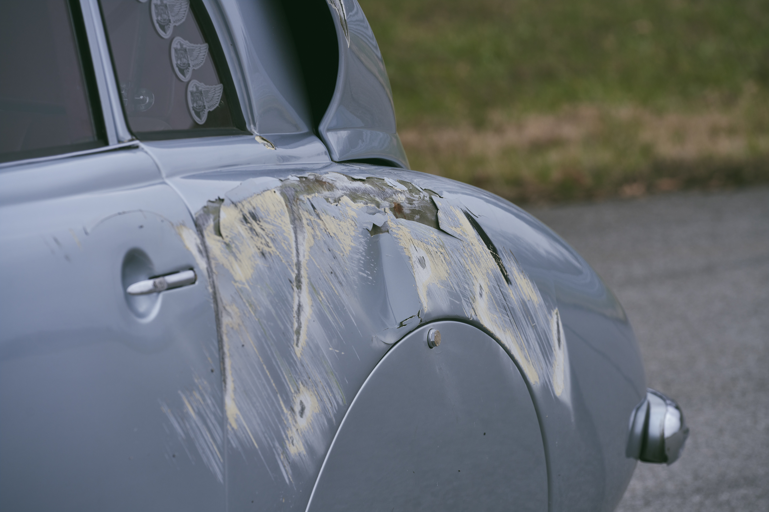 1947 Tatra T87 quarter panel crash damage