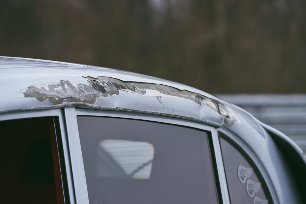1947 Tatra T87 roofline crash damage