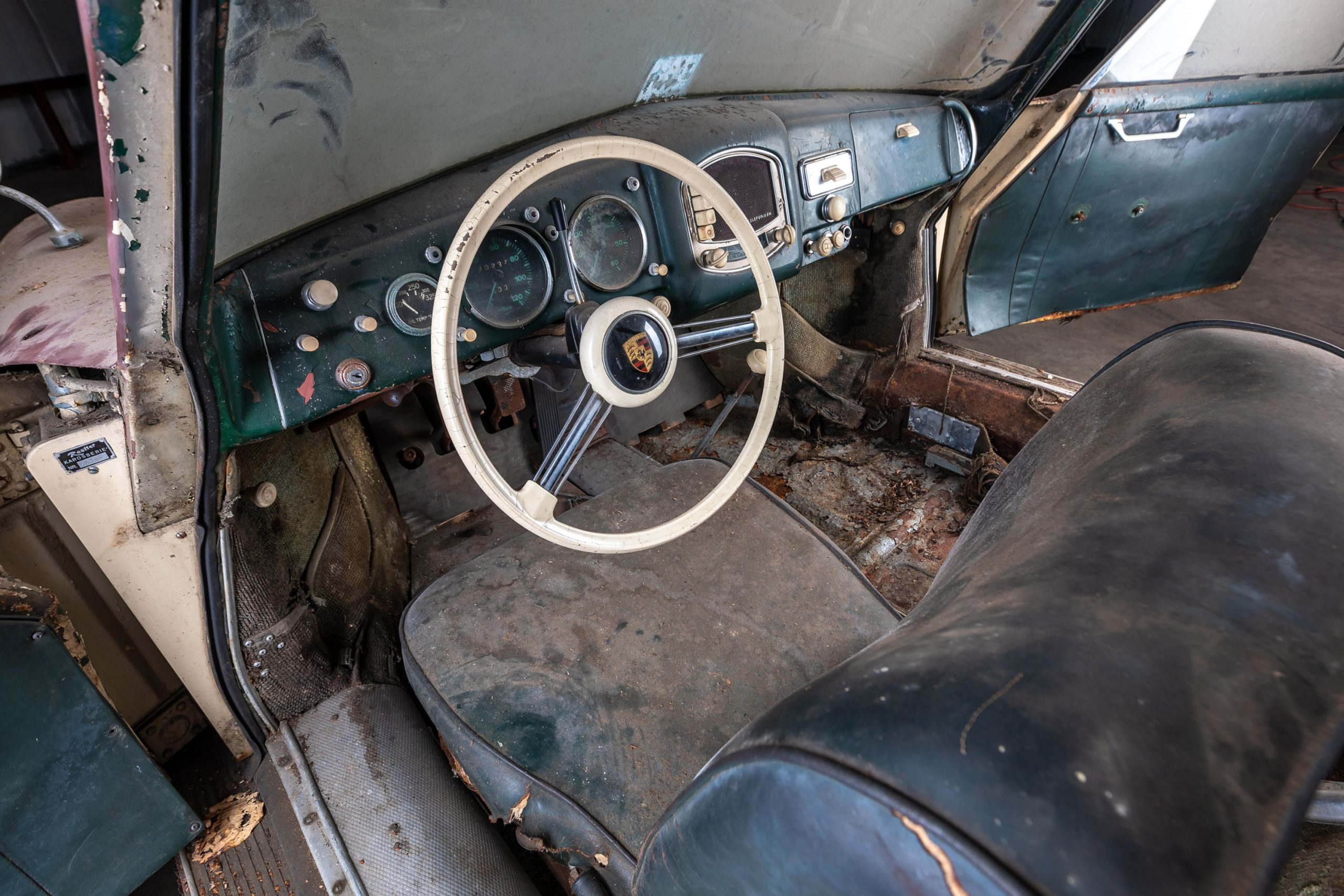 1953 Porsche 356 Coupe Barn Find interior
