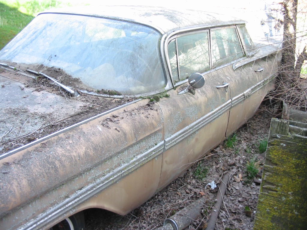 1959 Chevrolet Impala unrestored parked