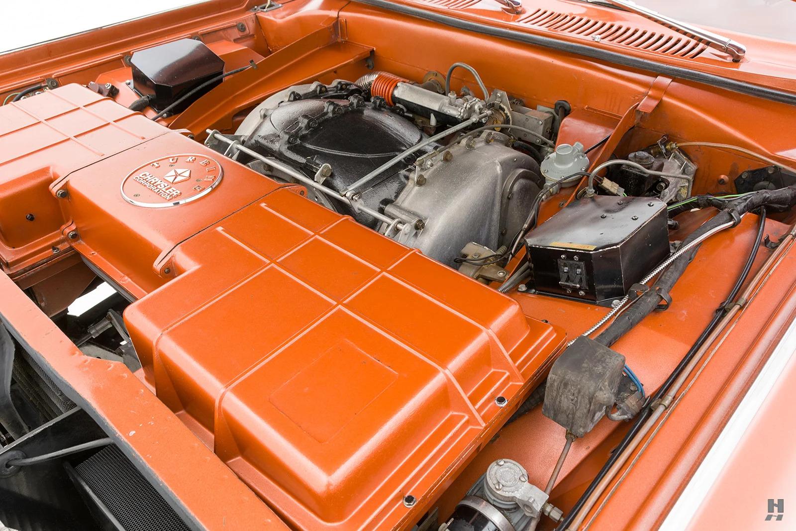 1963 Chrysler Turbine Car engine bay angled