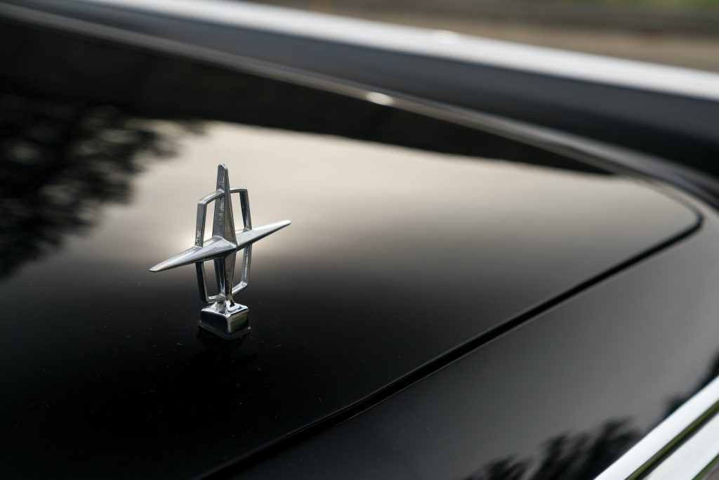 1963 Lincoln Continental hood ornament detail