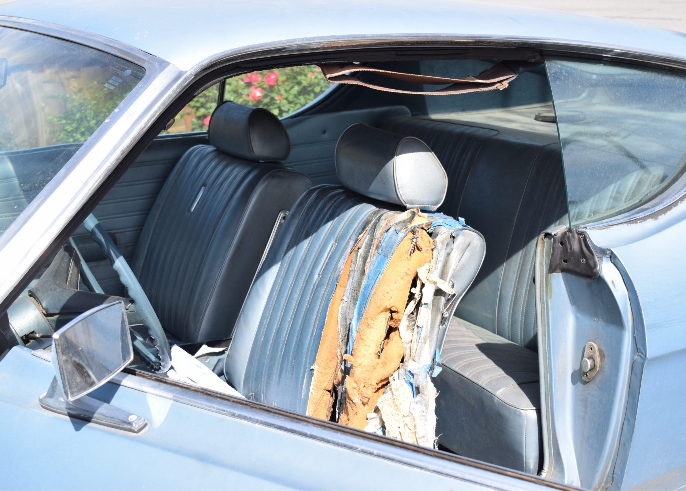 1969 Ford Torino interior seat torn before restoration