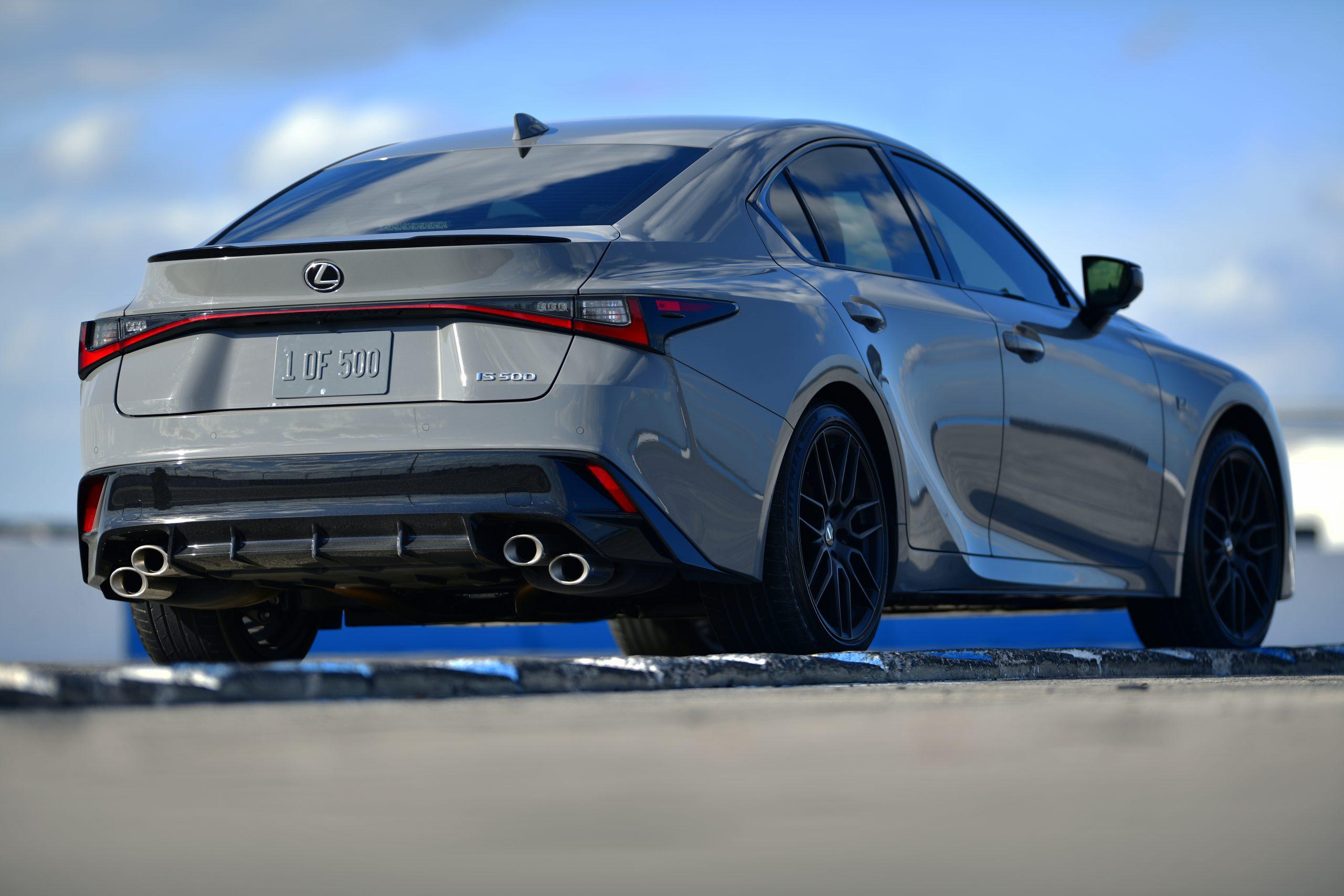 2022 Lexus IS 500 F Sport Launch Edition rear three quarter on track