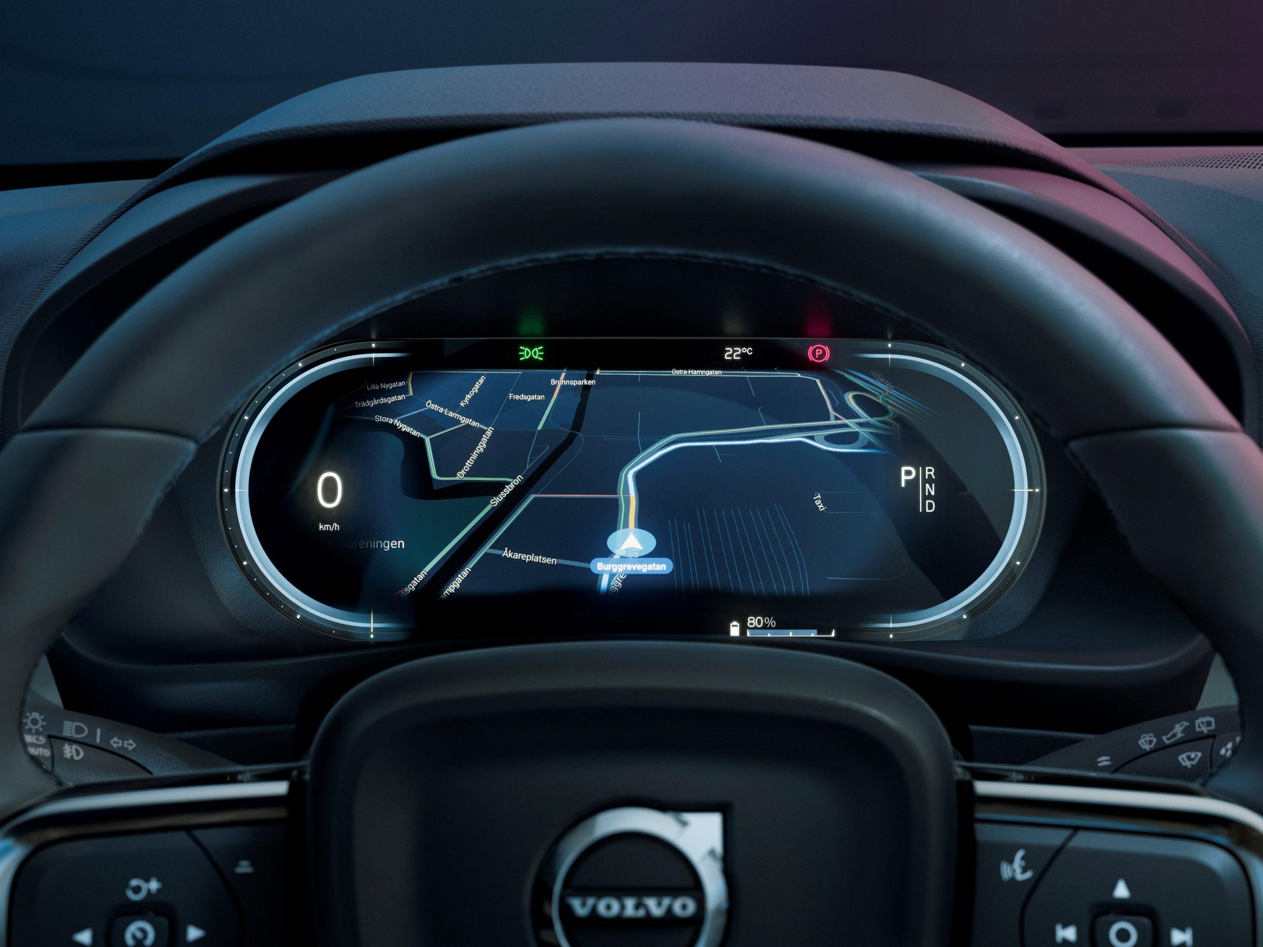 Volvo C40 Recharge digital instrument dash cluster