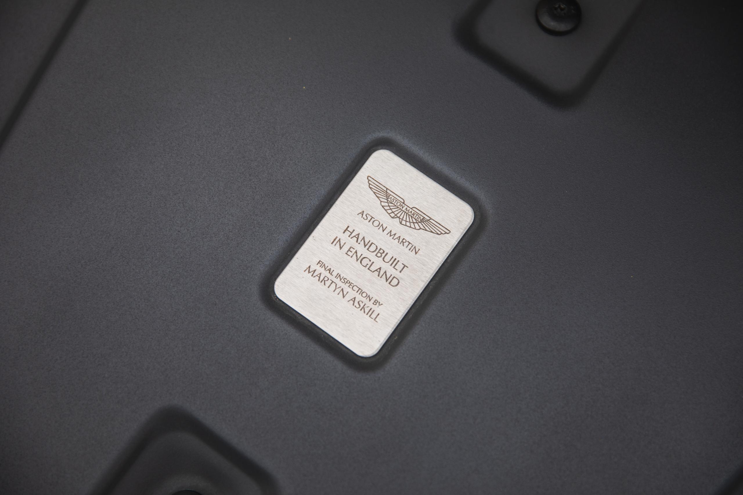 2007 Aston Martin Vantage V8 handbuilt badge detail