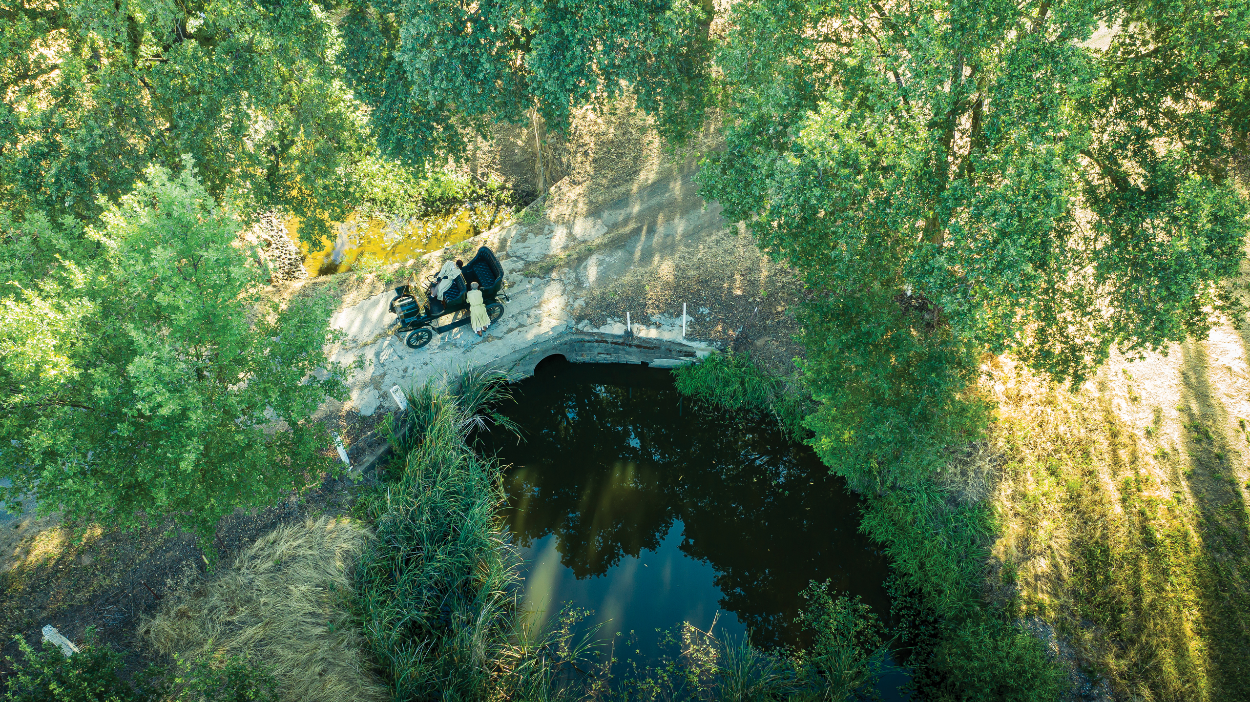 maxwell brass era automobile bridge stop aerial