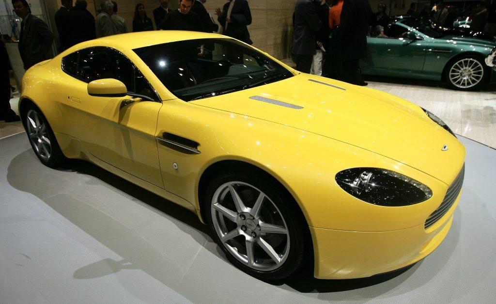 Yellow Aston Martin V8 Vantage Geneva Motor Show Debut