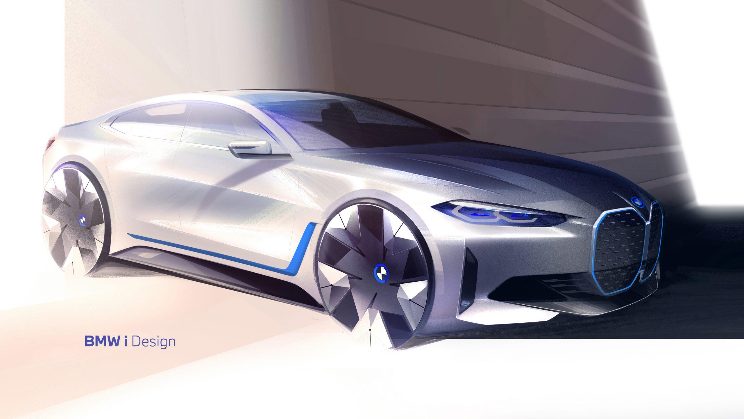 BMW i4 front three-quarter sketch