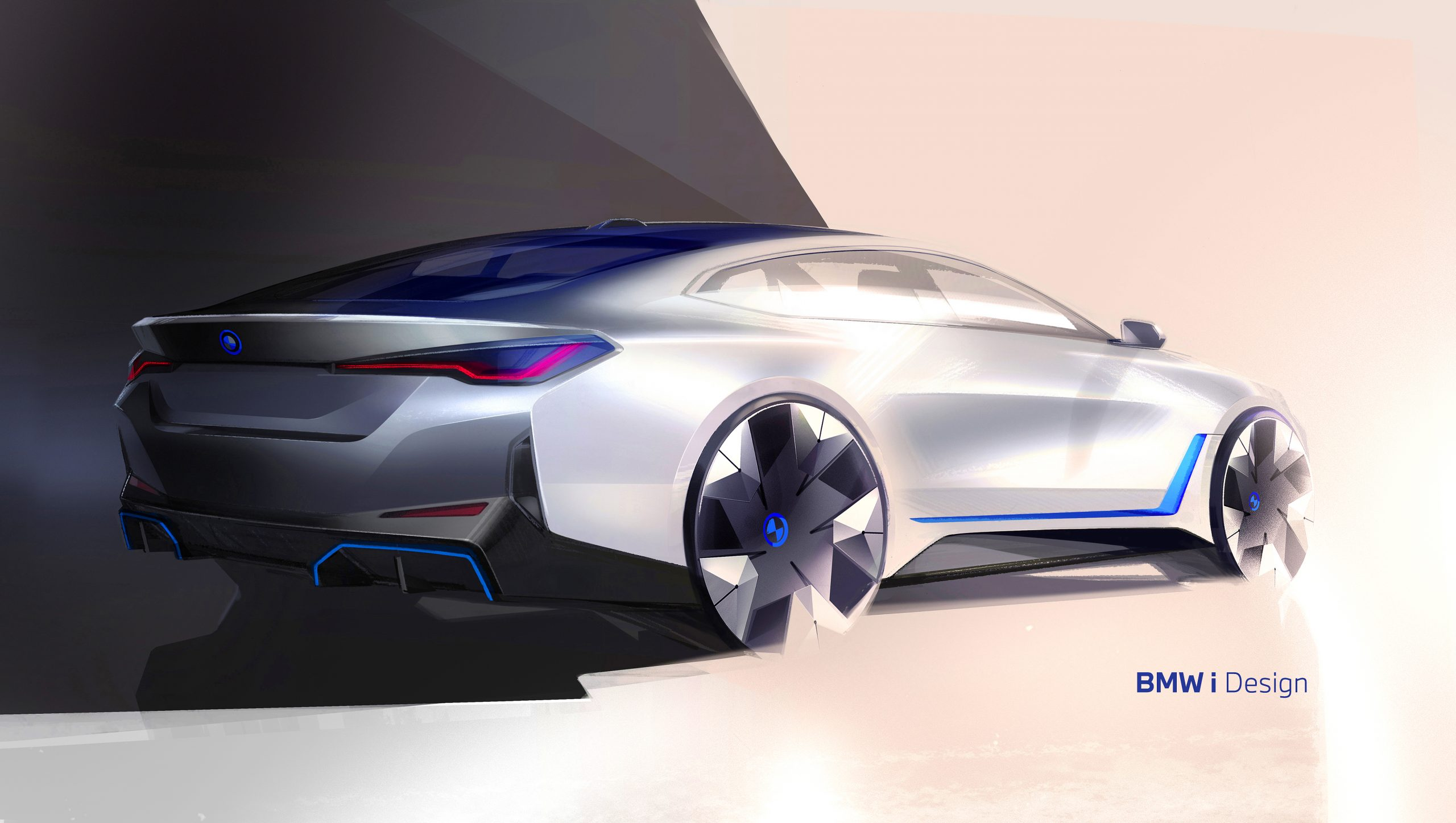 BMW i4 rear three-quarter sketch