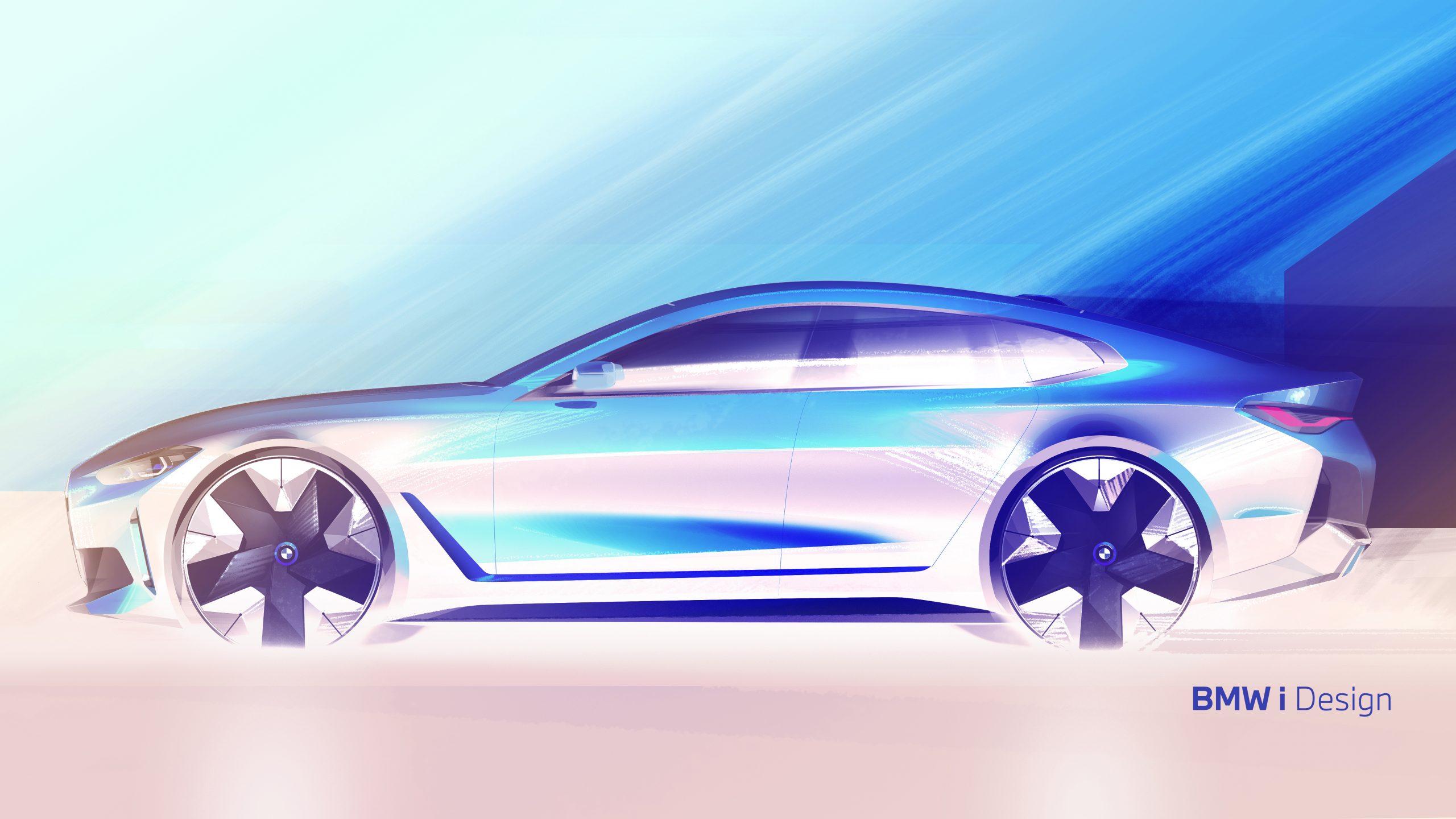 BMW i4 side profile sketch