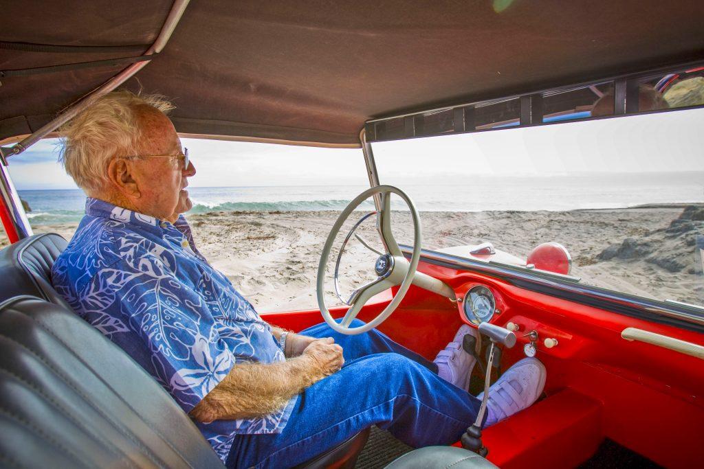 Meyers Manx Dune Buggy oceanside bruce behind wheel