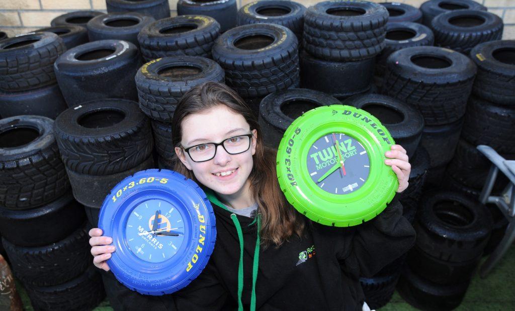 Catherine Potter tire clock art
