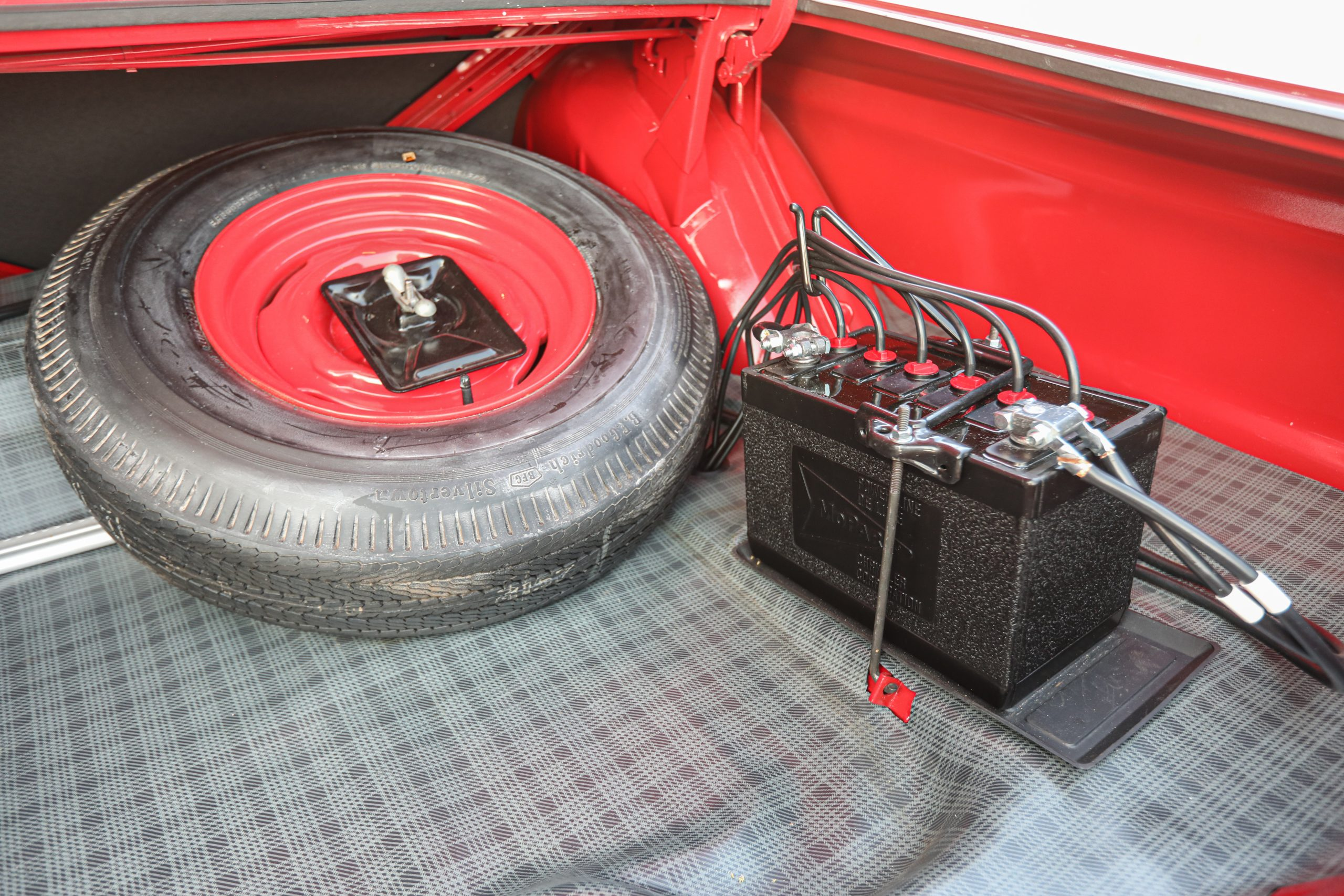 1963 Plymouth 426 Max Wedge lightweight trunk battery spare