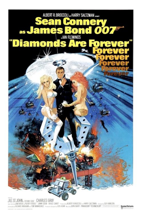 James Bond Diamonds Are Forever Sean Connery 007 Poster Art