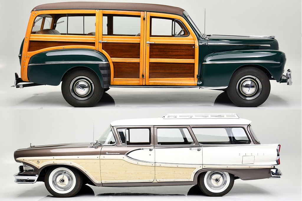 Two woodies owned by Edsel Ford II and hot-rodded by Roush are headed to auction