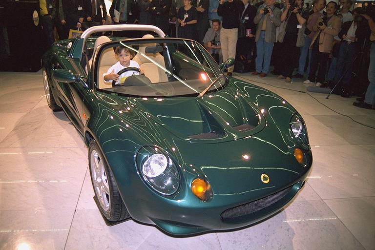 Young Elisa Artioli in Green Lotus Elise