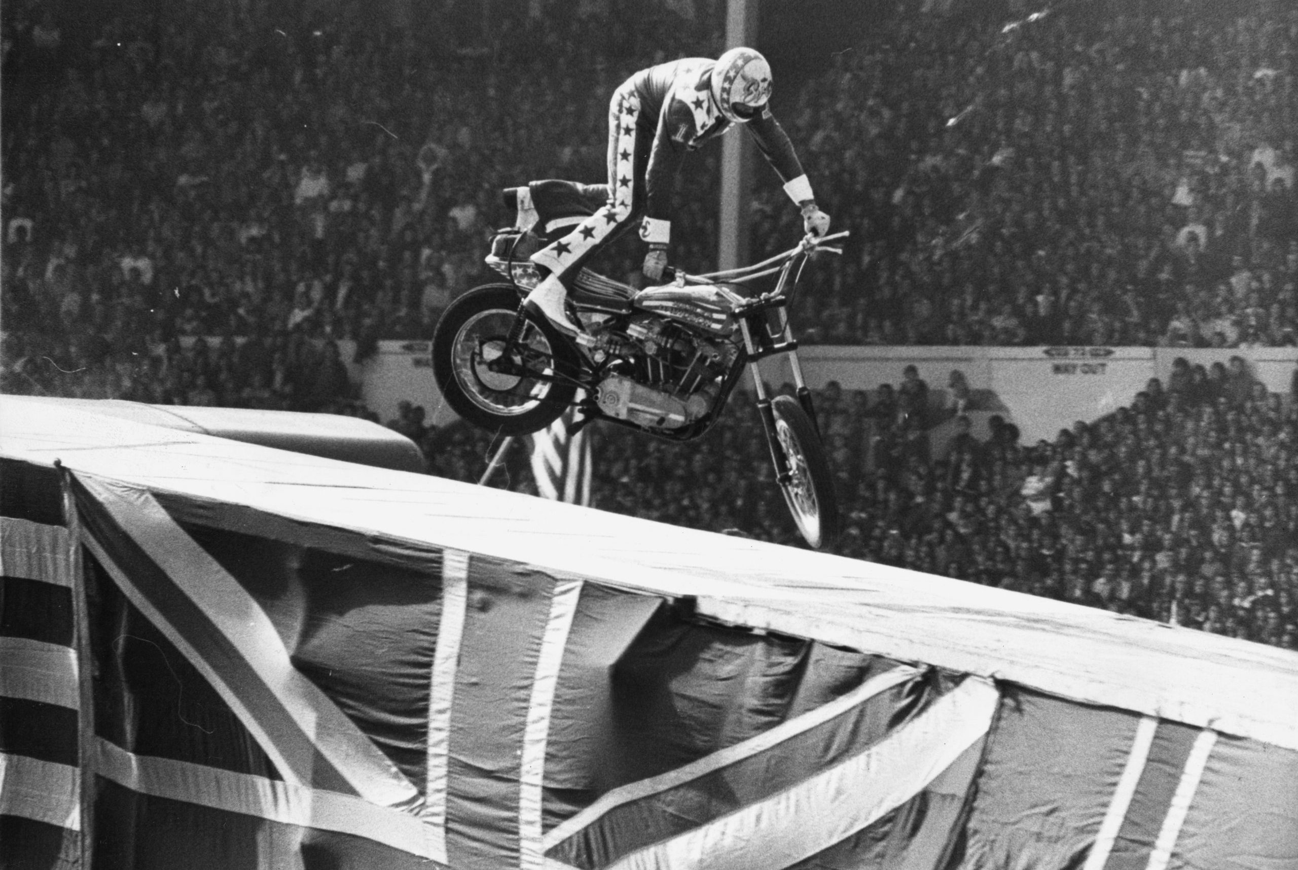 Evel Knievel Landing off his Motorcycle Wembley