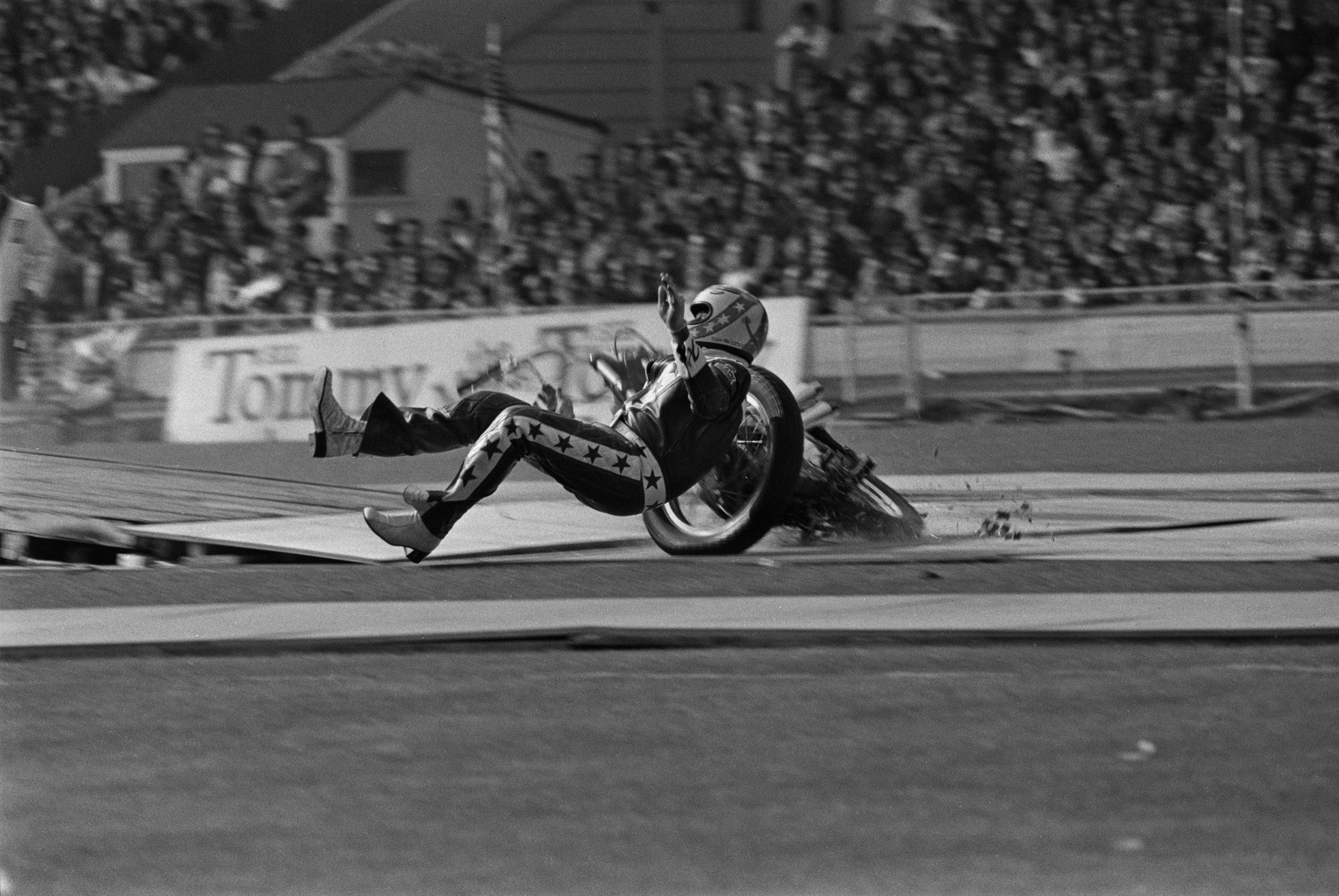 Evel Knievel Landing off his Motorcycle Wembley Crash
