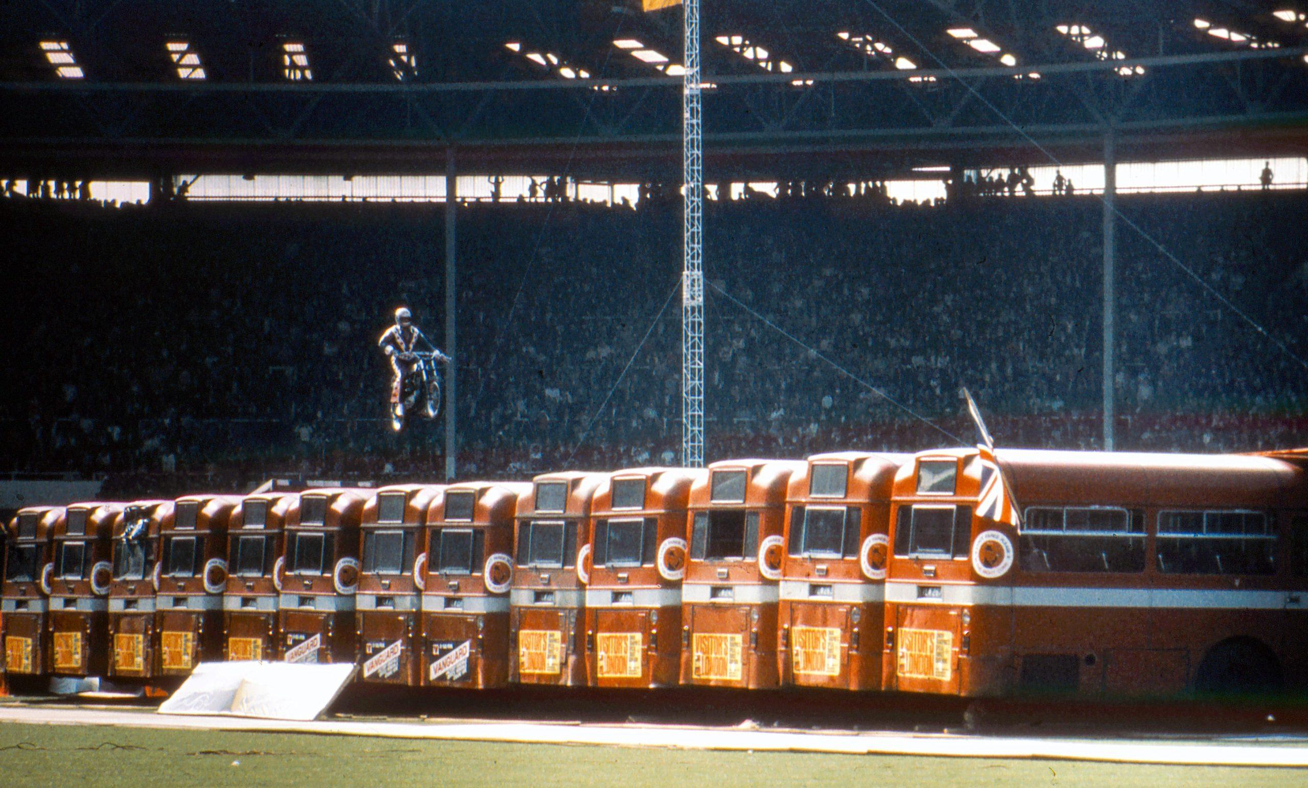 Evel Knievel Wembley Bus Jump mid-air color