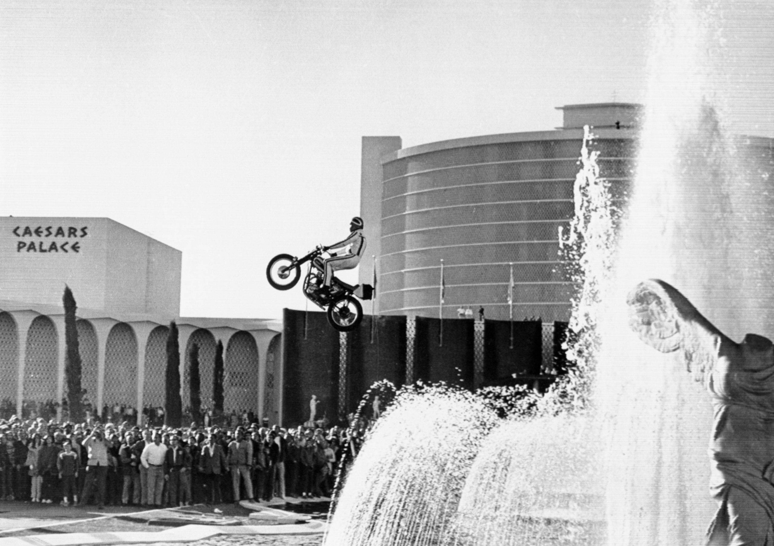 Evel Knievel Jumping Motorcycle over Caesars Palace Fountain