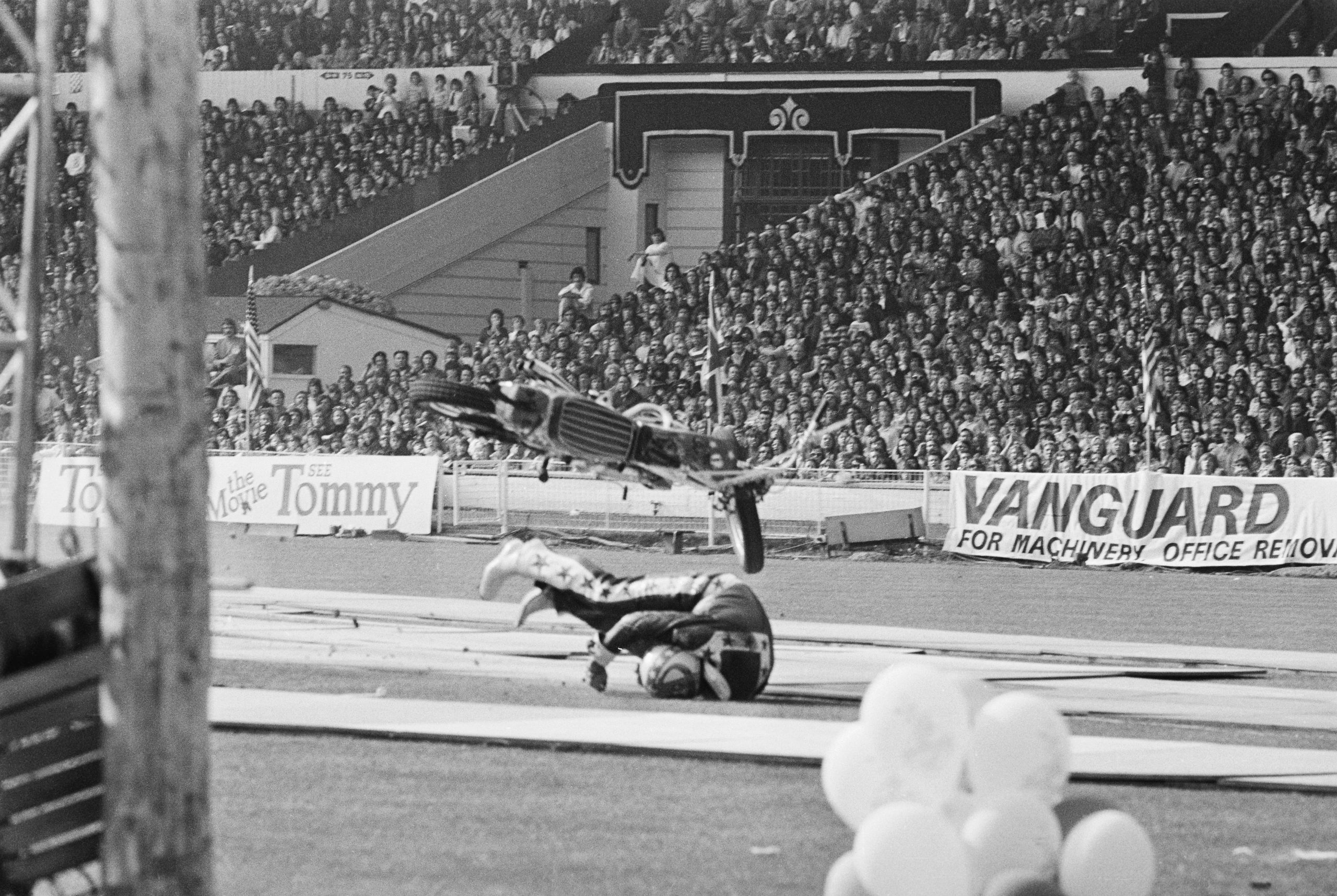Evel Knievel Landing off his Motorcycle
