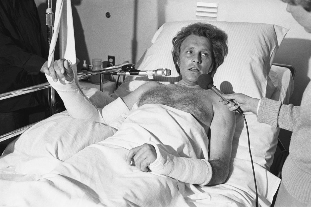 Evel Knievel Giving Interviews in Hospital