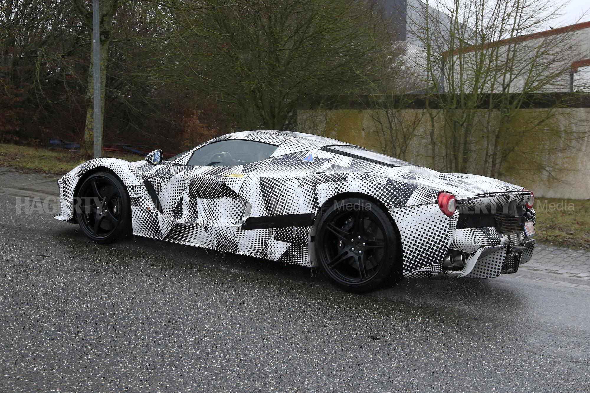 New Ferrari Hypercar Mule spy rear three-quarter