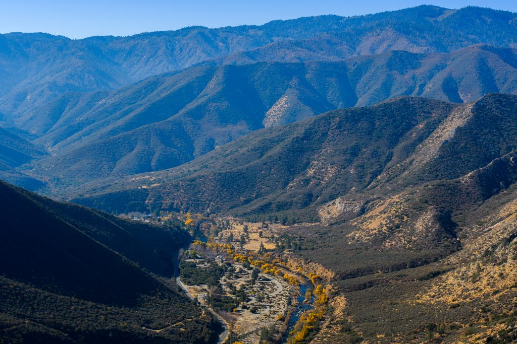 sierra nevada high country and valley beneath