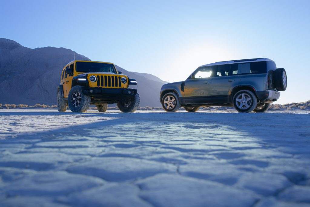 jeep wrangler rubicon and land rover defender together