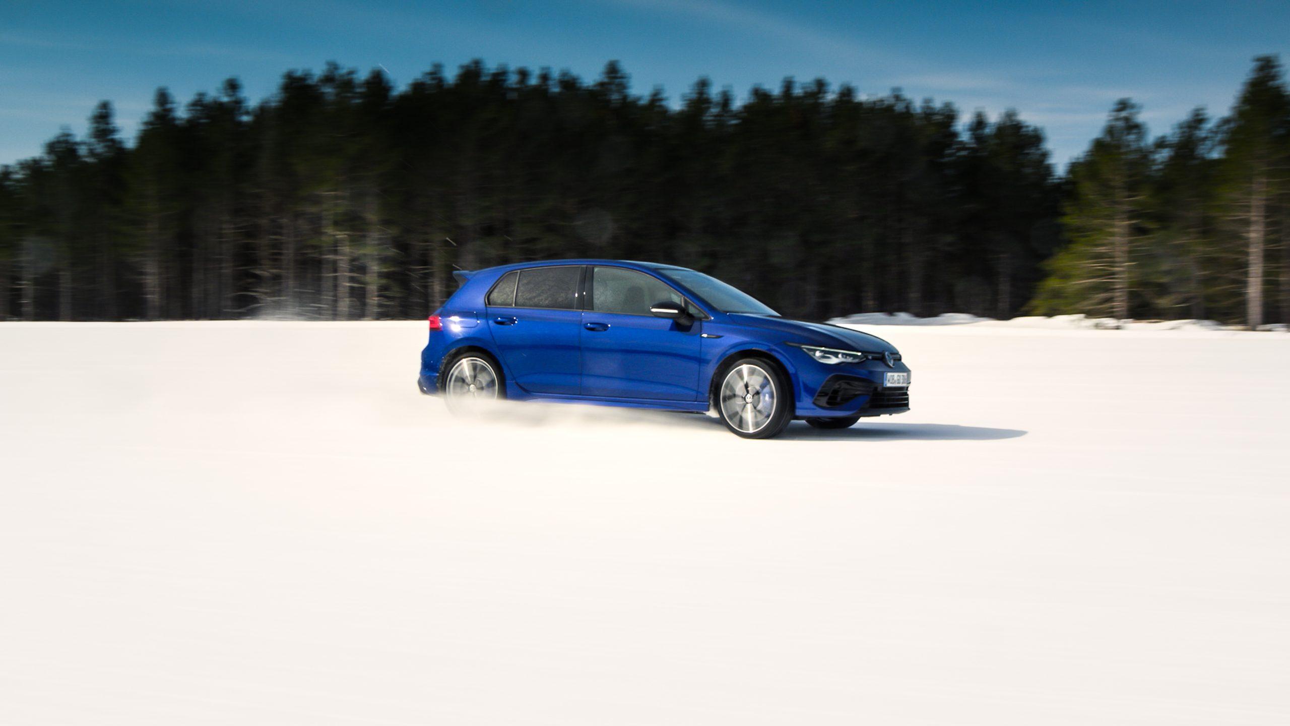 2022 Volkswagen Golf R front three-quarter slide action
