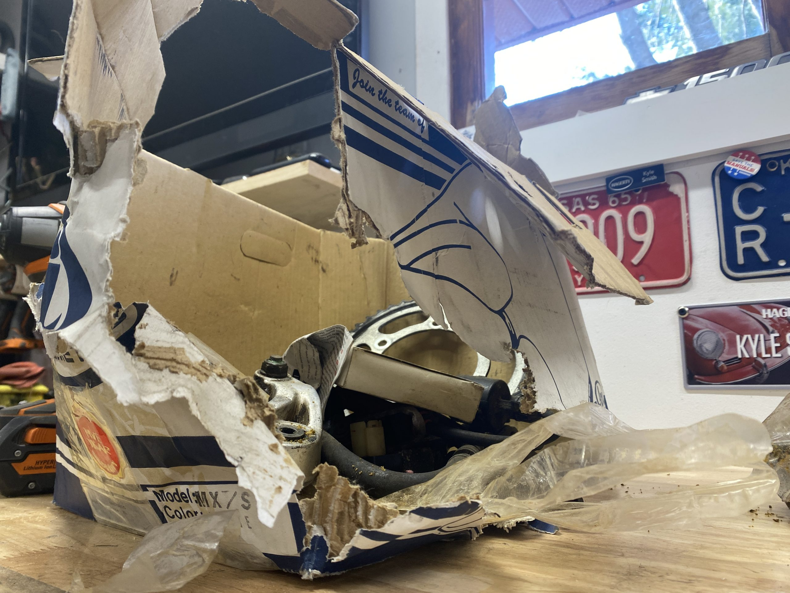 destroyed cardboard box