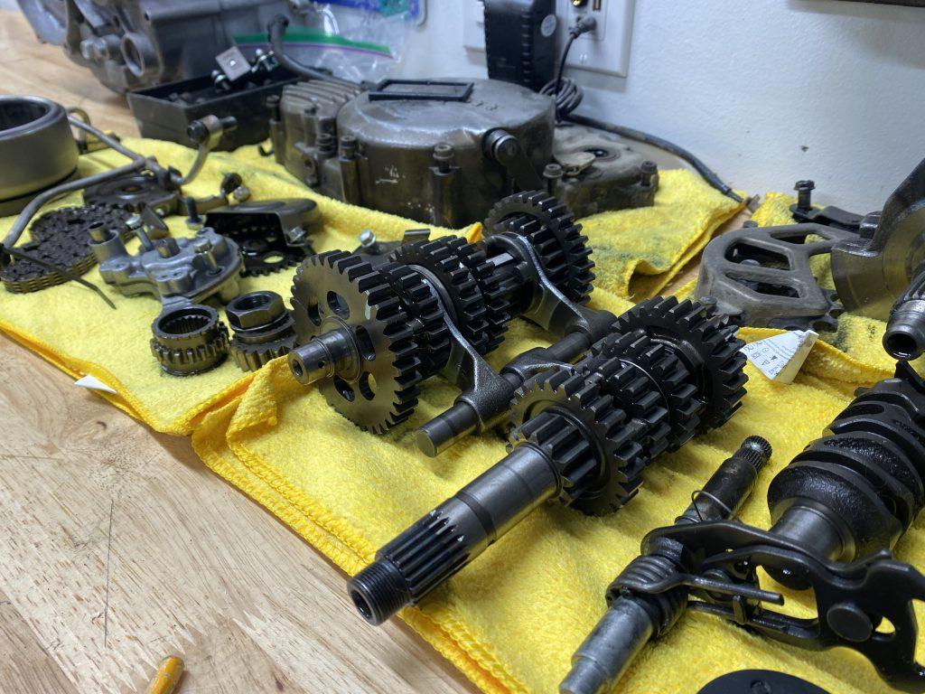 Honda XR250R engine on workbench