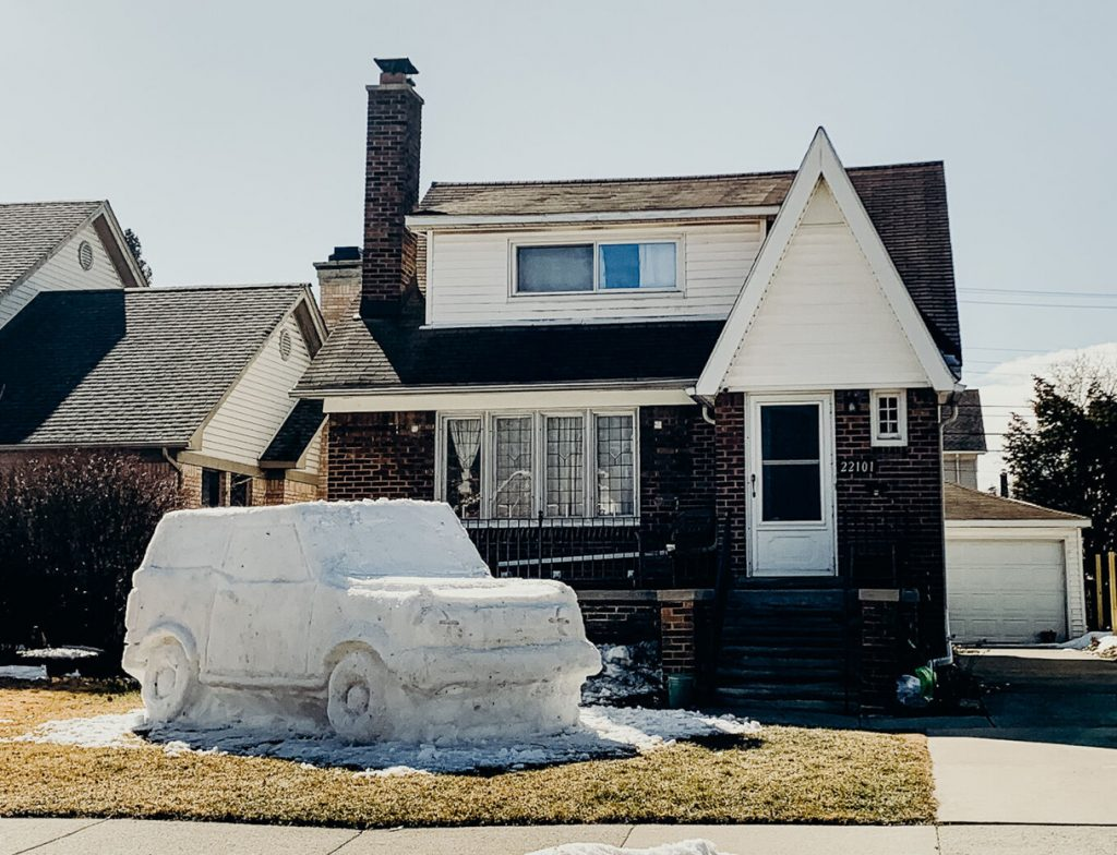 New Ford Bronco Snow Sculpture