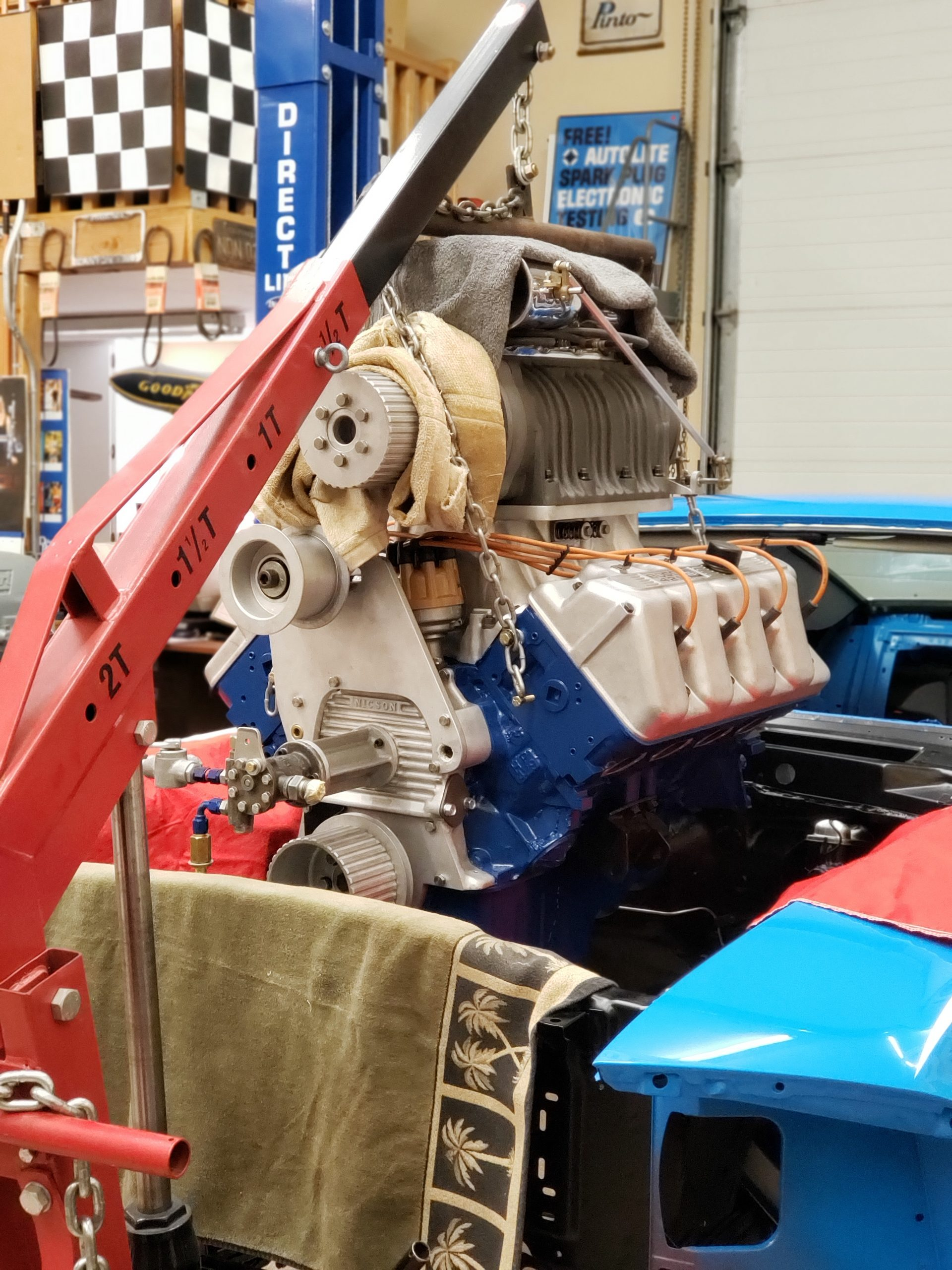 Lawman Boss 429 Ford Mustang engine on lift