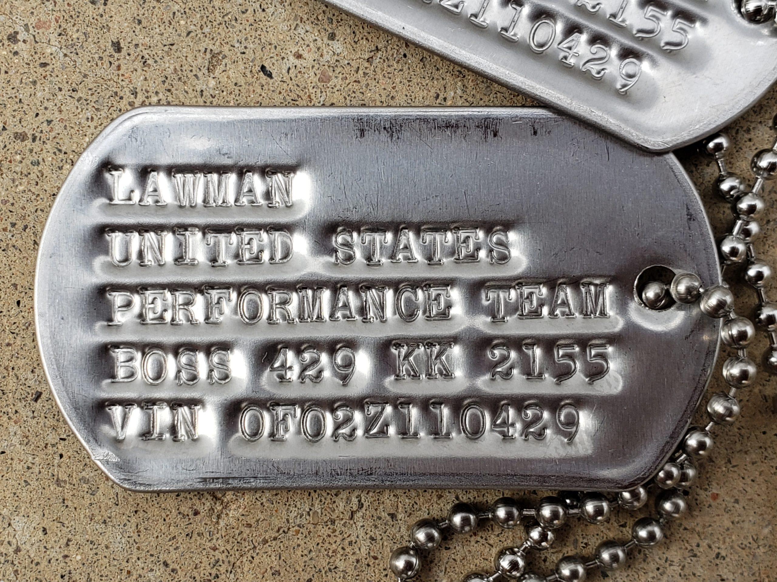 Lawman Boss 429 Ford Mustang dog tag detail close